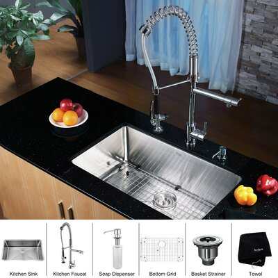 30 x 18 Undermount Kitchen Sink with Faucet and Soap Dispenser Faucet Finish: Chrome