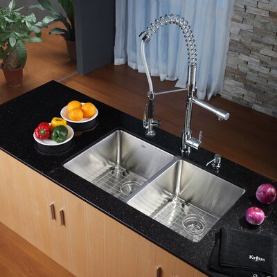 32.75 x 19 Double Basin Undermount Kitchen Sink with Faucet and Soap Dispenser Faucet Finish: Chrome