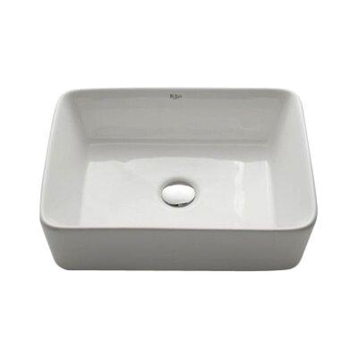 Ceramic Rectangular Vessel Bathroom Sink Drain Finish: Satin Nickel