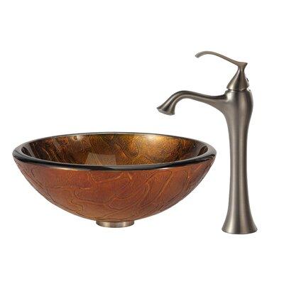 Triton Glass Circular Vessel Bathroom Sink Faucet Finish: Brushed Nickel