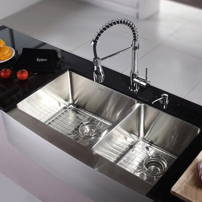 Kitchen Combos 36 x 21 Double Basin Farmhouse/Apron Kitchen Sink with Faucet Faucet Finish: Chrome
