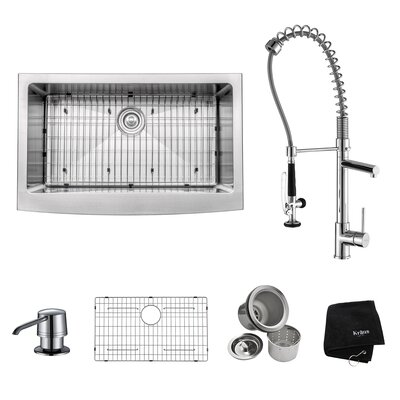 33 x 21 Farmhouse Kitchen Sink with Faucet and Soap Dispenser Faucet Finish: Chrome