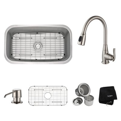 Kitchen Combos 31.5 x 18.38 Undermount Kitchen Sink with Faucet and Soap Dispenser Finish: Satin Nickel