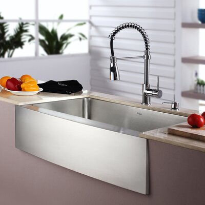 Kitchen Combos 33 x 21 Single Basin Farmhouse/Apron Kitchen Sink with Faucet Faucet Finish: Chrome