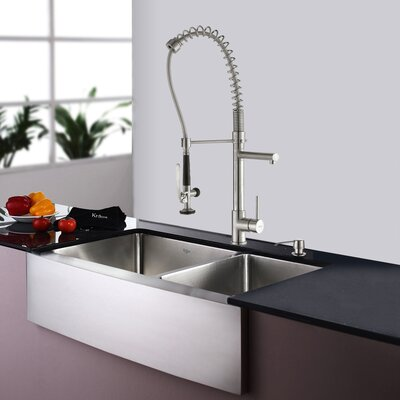 35.9 x 20.75 Double Basin Farmhouse Kitchen Sink Set with Kitchen Faucet and Soap Dispenser Faucet Finish: Stainless Steel