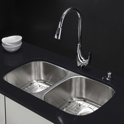 32.25 x 18.5 Double Basin Undermount Kitchen Sink with Faucet and Soap Dispenser Faucet Finish: Chrome