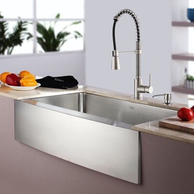 Kitchen Combos 30 x 20 Single Basin Farmhouse/Apron Kitchen Sink with Faucet and Dispenser Faucet Finish: Stainless Steel