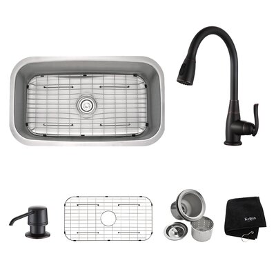 Kitchen Combos 31.5 x 18.38 Undermount Kitchen Sink with Faucet and Soap Dispenser Finish: Oil Rubbed Bronze