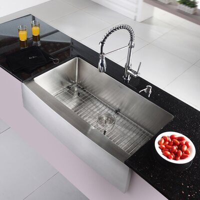 35.9 x 20.8 Farmhouse Kitchen Sink with Faucet and Soap Dispenser Faucet Finish: Chrome