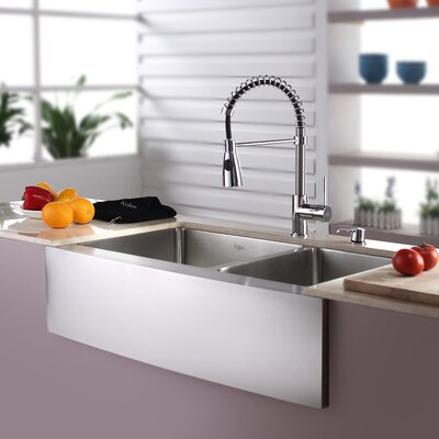 Kitchen Combo 33 x 21 Double Basin Farmhouse/Apron Kitchen Sink with Faucet Faucet Finish: Chrome