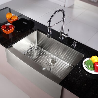Kitchen Combos 30 x 20 Single Basin Farmhouse/Apron Kitchen Sink with Faucet and Dispenser Faucet Finish: Chrome