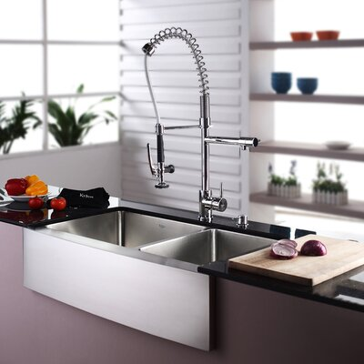 35.9 x 20.75 Double Basin Farmhouse Kitchen Sink Set with Kitchen Faucet and Soap Dispenser Faucet Finish: Chrome