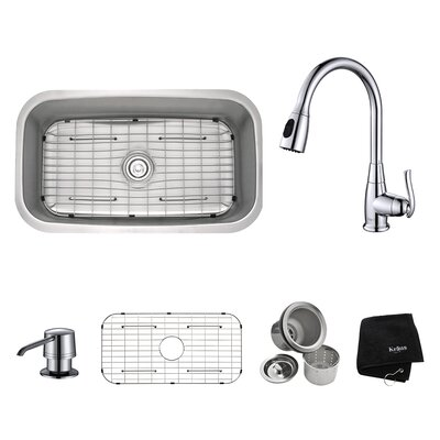 Kitchen Combos 31.5 x 18.38 Undermount Kitchen Sink with Faucet and Soap Dispenser Finish: Chrome