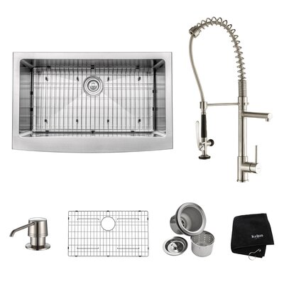 32.88 x 20.75 Farmhouse Kitchen Sink with Faucet and Soap Dispenser Faucet Finish: Stainless Steel