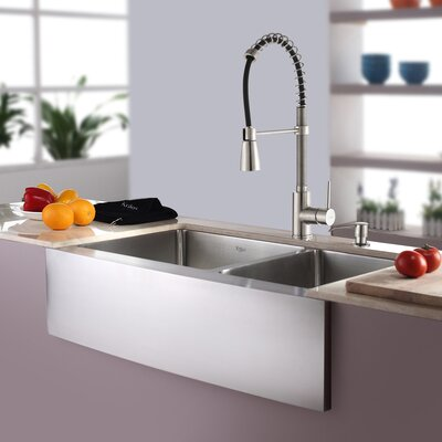 Kitchen Combos 33 x 21 Double Basin Farmhouse/Apron Kitchen Sink with Faucet Faucet Finish: Stainless Steel