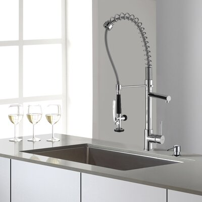 32 x 19 Undermount Kitchen Sink with Faucet and Soap Dispenser Faucet Finish: Chrome