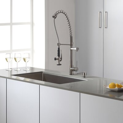 32 x 19 Undermount Kitchen Sink with Faucet and Soap Dispenser Faucet Finish: Stainless Steel