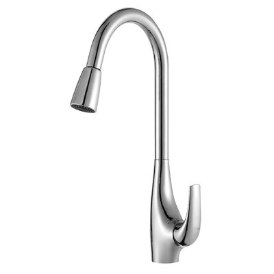 High Arch Single Handle Pull Down Kitchen Faucet with Dual Function Sprayer Faucet Finish: Chrome