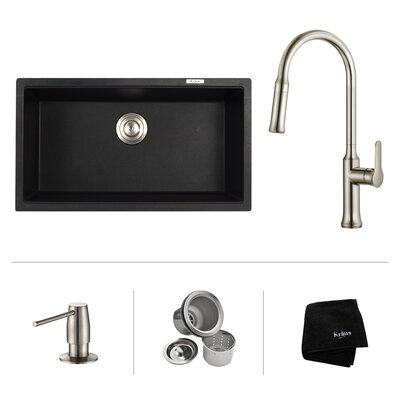 Kitchen Combos 31 x 17.09 Undermount Kitchen Sink with Faucet Faucet Finish: Chrome
