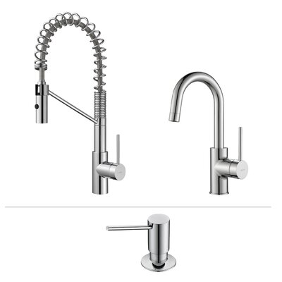 Oletto� Single Handle Kitchen Faucet with Soap Dispenser Finish: Chrome