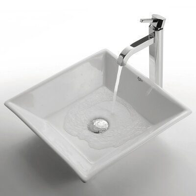 Ceramic Ceramic Square Vessel Bathroom Sink with Faucet Faucet Finish: Chrome