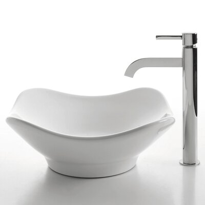 Ceramic Ceramic Specialty Vessel Bathroom Sink with Faucet Faucet Finish: Chrome