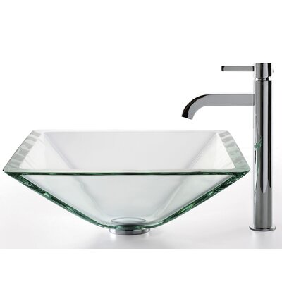 Square Glass Square Vessel Bathroom Sink with Faucet Faucet Finish: Chrome