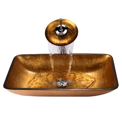 Galaxy Glass Waterfall Faucet Rectangular Vessel Bathroom Sink Faucet Finish: Chrome, Sink Finish: Golden Pearl
