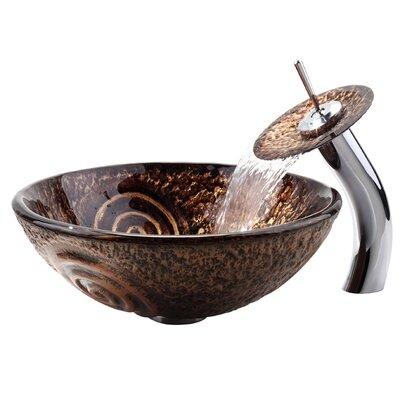 Luna Glass Circular Vessel Bathroom Sink Mounting Ring Finish: Chrome
