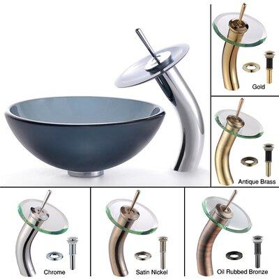 Glass Circular Vessel Bathroom Sink Finish: Clear Black, Mounting Ring Finish: Chrome