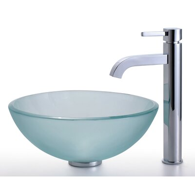 Frosted Glass Circular Vessel Bathroom Sink Faucet Finish: Chrome