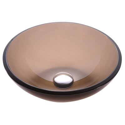 Clear Glass Circular Vessel Bathroom Sink Finish: Clear Brown