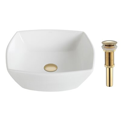 Elavo Ceramic Square Vessel Bathroom Sink Drain Finish: Oil Rubbed Bronze