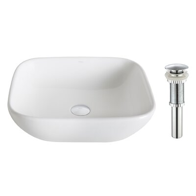 Elavo Ceramic Square Vessel Bathroom Sink Drain Finish: Chrome