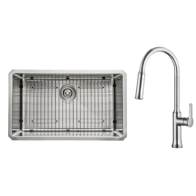 Kitchen Combos 30 x 18 Undermount Kitchen Sink with Faucet Faucet Finish: Chrome