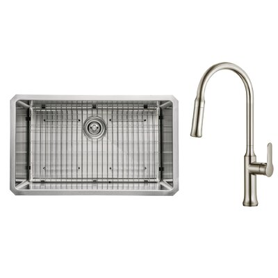 Kitchen Combos 30 x 18 Undermount Kitchen Sink with Faucet Faucet Finish: Stainless Steel