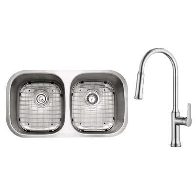 Kitchen Combos 32 x 18 Double Basin Undermount Kitchen Sink with Faucet Faucet Finish: Chrome