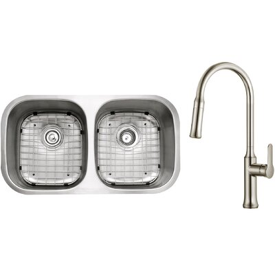 Kitchen Combos 32 x 18 Double Basin Undermount Kitchen Sink with Faucet Faucet Finish: Stainless Steel