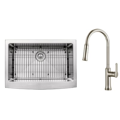 Kitchen Combos 30 x 18.38 Undermount Kitchen Sink with Faucet/Soap Dispenser Faucet Finish: Stainless Steel
