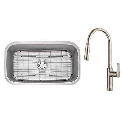 Kitchen Combos 31.5 x 18.38 Undermount Kitchen Sink with Faucet/Soap Dispenser Faucet Finish: Stainless Steel