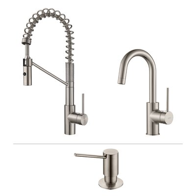 Oletto� Single Handle Kitchen Faucet with Soap Dispenser Finish: Stainless Steel