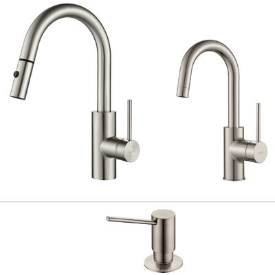 Oletto Standard  Pull Down Bar Faucet with and Soap Dispenser Finish: Stainless Steel