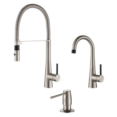 Crespo� Single Handle Pull Down Kitchen Faucet with Dispenser Finish: Stainless Steel