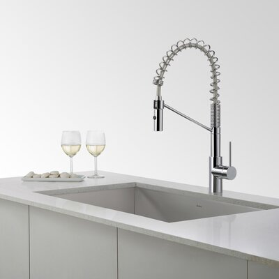 31.5 x 18.5 Undermount Kitchen Sink with Bar Faucet Finish: Chrome