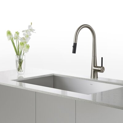 31.5 x 18.5 Undermount Kitchen Sink with Pull Down Bar Faucet