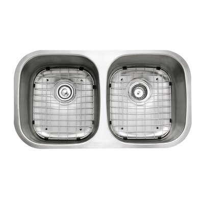 Stainless Steel 32.25 x 18 Double Basin Undermount Kitchen Sink with NoiseDefend Soundproofing Rectangular  Bathroom Sink