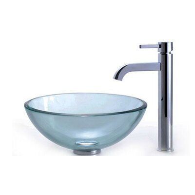 Clear Glass Circular Vessel Bathroom Sink Faucet Finish: Chrome