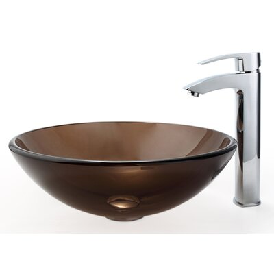 Clear Glass Circular Vessel Bathroom Sink Glass Finish: Clear Brown