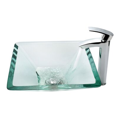 Glass Visio Square Vessel Bathroom Sink Sink Finish: Clear