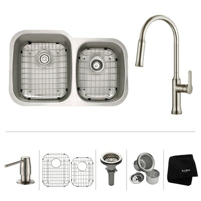 Kitchen Combos 32 x 20.63 Double Basin Undermount Kitchen Sink with Faucet Faucet Finish: Stainless Steel